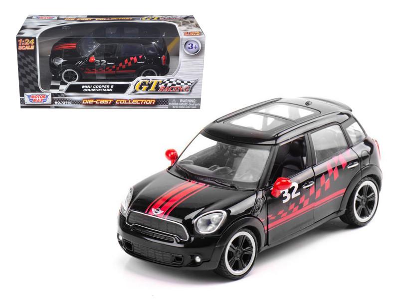 Mini Cooper S Countryman Black Racing 1/24 Diecast Car Model Motormax 73773