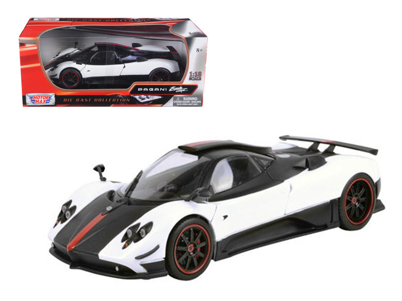 Pagani Zonda 5 Cinque White/Black 1/18 Diecast Car Model Motormax 79158