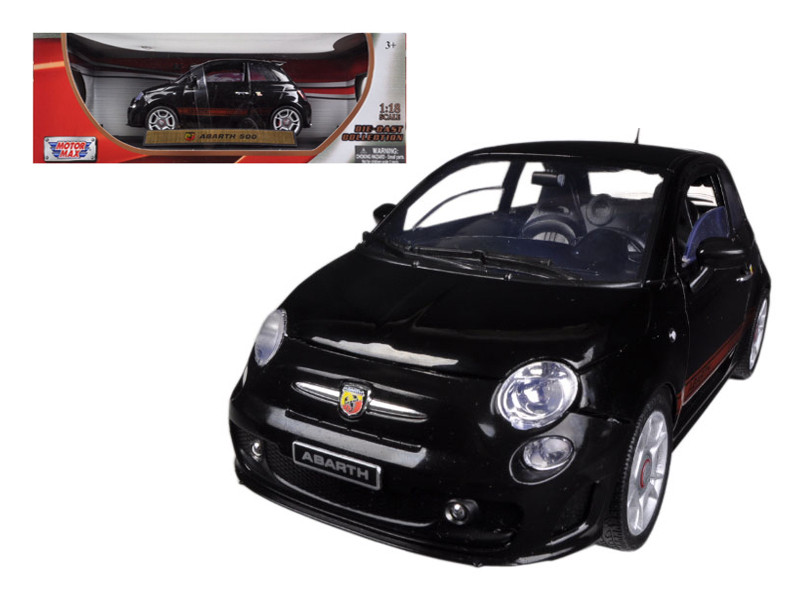 Fiat 500 Abarth Black 1/18 Diecast Car Model Motormax 79168