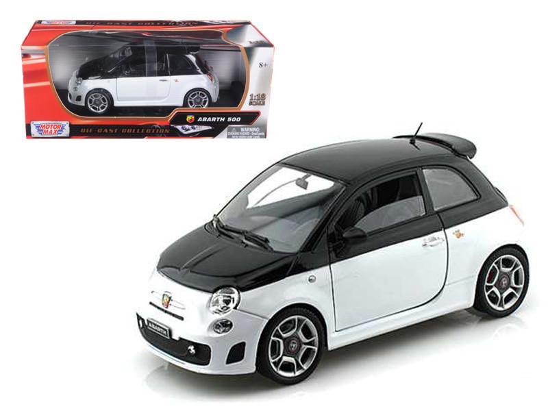 Fiat Abarth 500 White Black 1/18 Diecast Model Car Motormax 79168