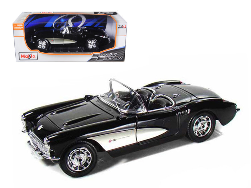 1957 Chevrolet Corvette Black 1/18 Diecast Model Car Maisto 31139