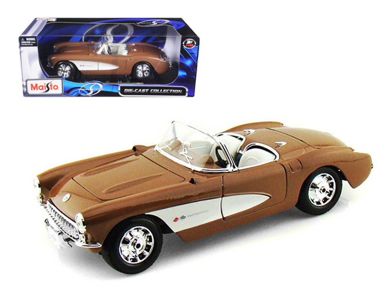 1957 Chevrolet Corvette Bronze 1/18 Diecast Model Car Maisto 31139