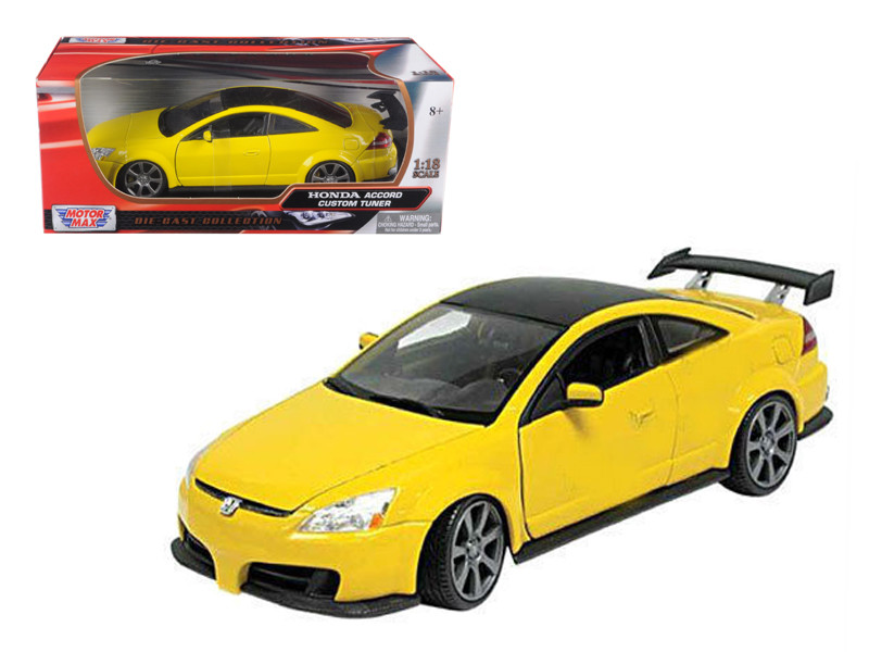 2003 Honda Accord Custom Tuner Yellow 1/18 Diecast Model Car Motormax 73146