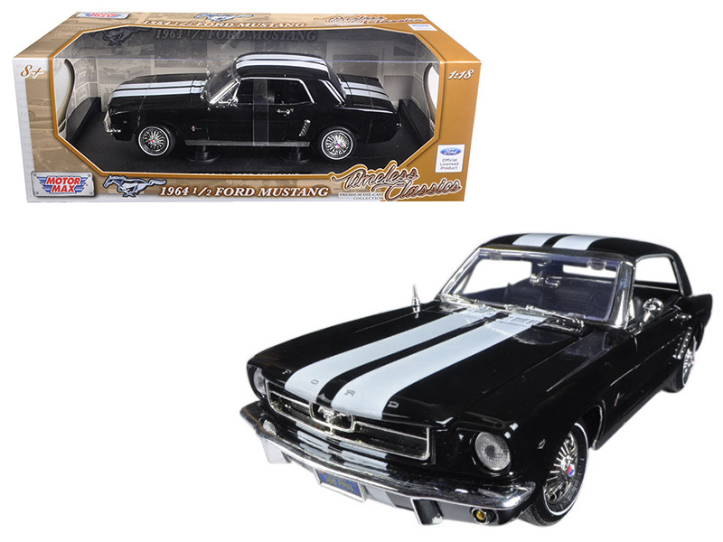1964 1/2 Ford Mustang Hard Top Black 1/18 Diecast Car Model Motormax 73164
