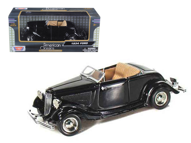 1934 Ford Coupe Convertible Black 1/24 Diecast Model Car Motormax 73218