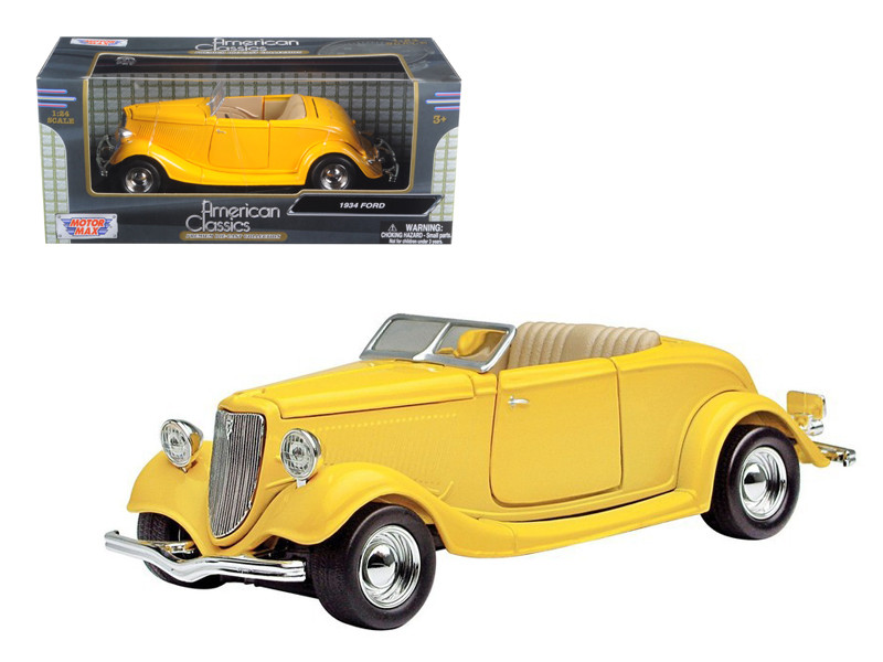 1934 Ford Coupe Yellow 1/24 Diecast Car Model Motormax 73218