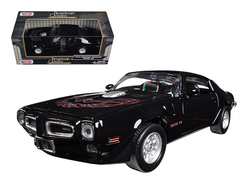 1973 Pontiac Firebird Trans Am Black 1/24 Diecast Model Car Motormax 73243