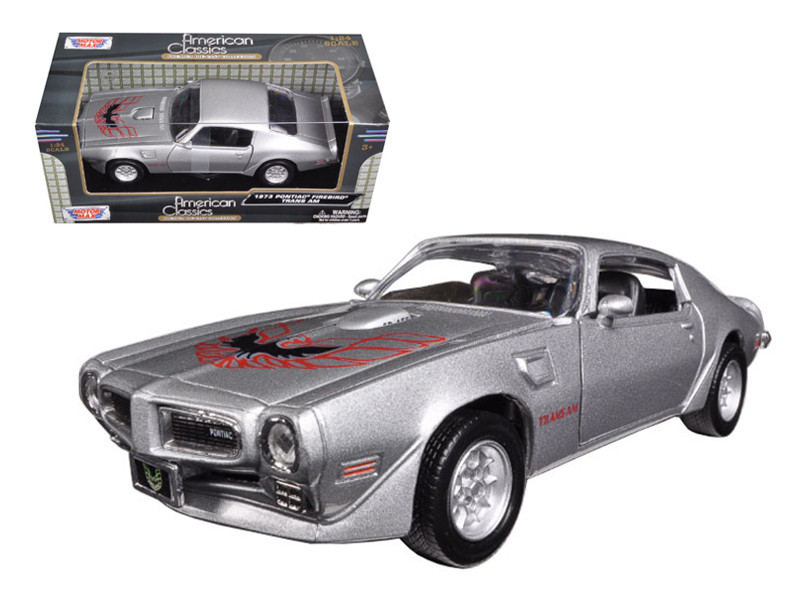 1973 Pontiac Firebird Trans Am Silver 1/24 Diecast Model Car Motormax 73243