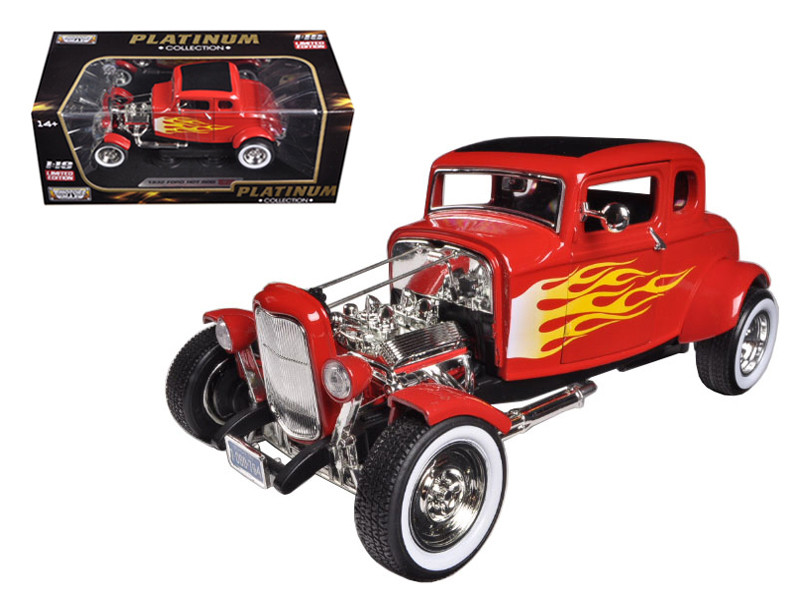 1932 Ford Hot Rod Red with Flames Limited Edition / Platinum Collection 1/18 Diecast Model Car Motormax 77172