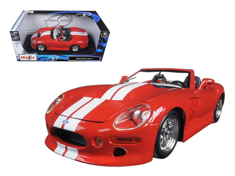 Shelby Series 1 Red with White Stripes 1/18 Diecast Model Car Maisto 31142