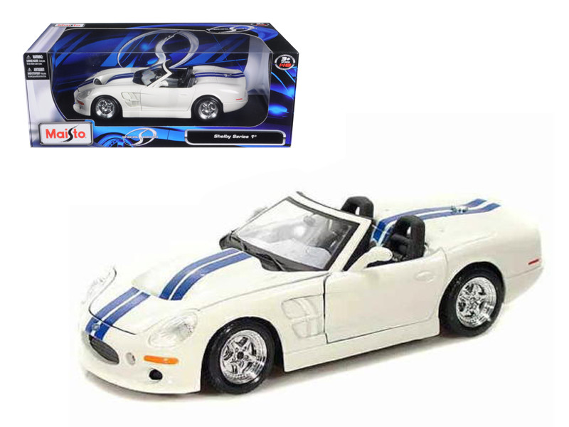 1999 Shelby Series 1 White W/Blue Stripes 1/18 Diecast Model Car Maisto 31142