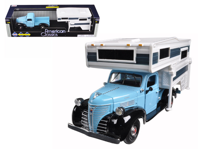 1941 Plymouth Pickup Truck Blue Camper Shell 1/24 Diecast Model Car Motormax 75330 73278