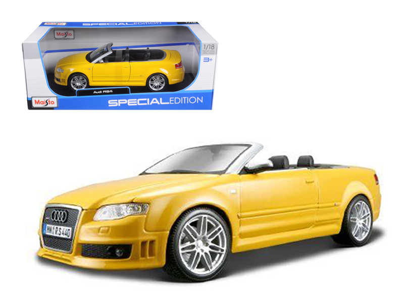 2008 Audi RS4 Convertible Yellow 1/18 Diecast Model Car Maisto 31147
