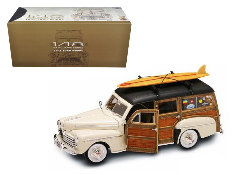 1948 Ford Woody With Wood And Surfboard Cream 1/18 Diecast Model Car Road Signature 20028