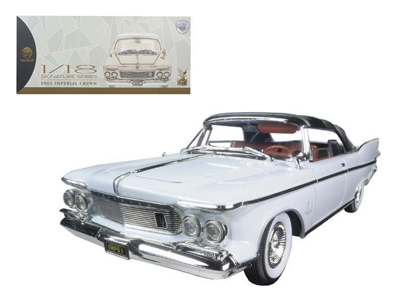 1961 Chrysler Imperial Crown White with Brown Interior 1/18 Diecast Model Car Road Signature 20138