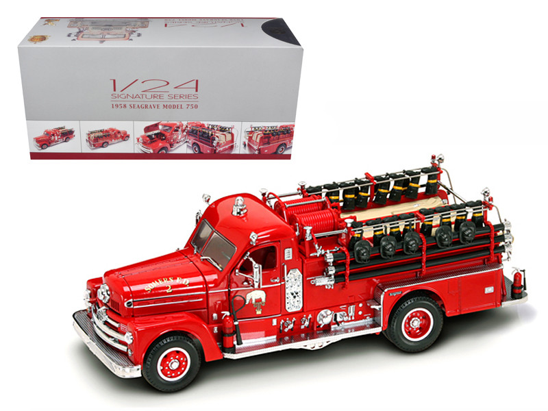 1958 Seagrave 750 Fire Engine Truck Red with Accessories 1/24 Diecast Model Road Signature 20168