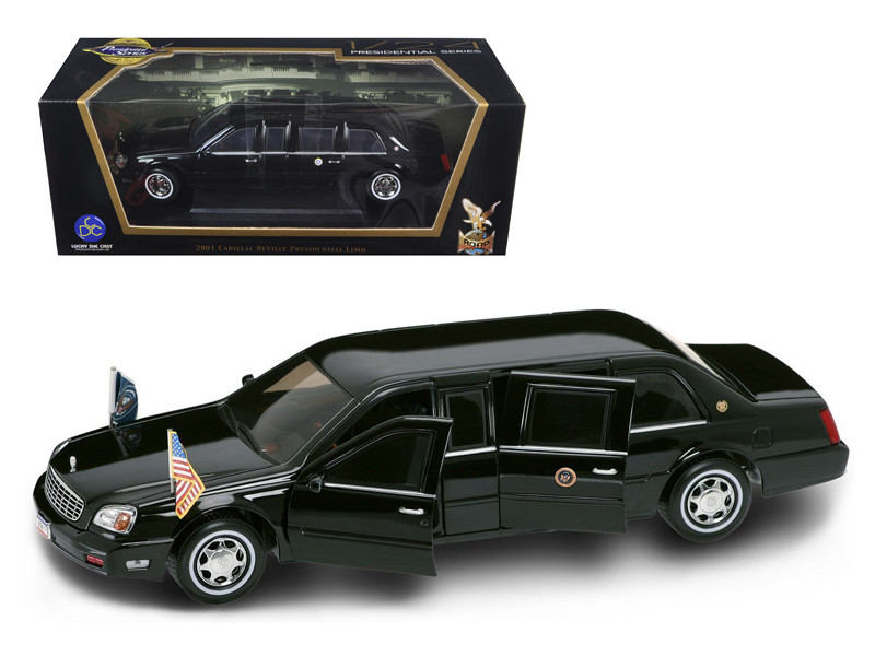 2001 Cadillac Deville Presidential Limousine Black with Flags 1/24 Diecast Car Model Road Signature 24018