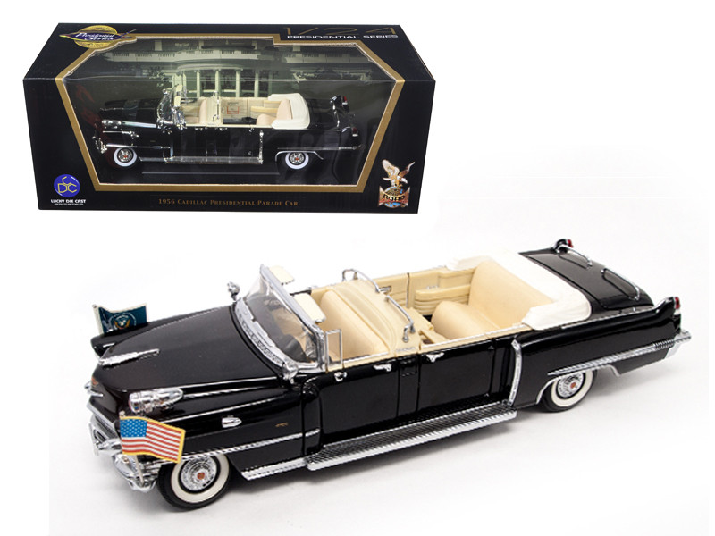 1956 Cadillac Series 62 Parade Limousine Black with Flags 1/24 Diecast Model Car Road Signature 24038
