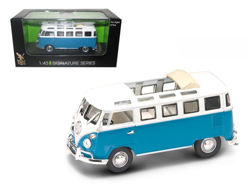 1962 Volkswagen Microbus Van Bus Blue With Open Roof 1/43 Diecast Car Road Signature 43208