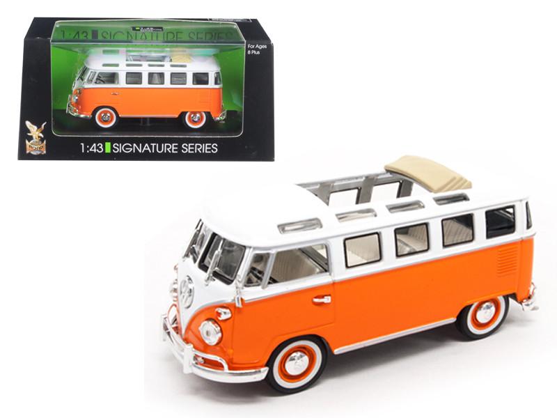 1962 Volkswagen Microbus Bus Van With Open Roof Orange 1/43 Diecast Model Car Road Signature 43208