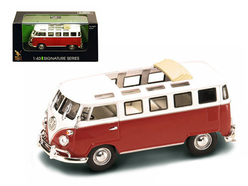 1962 Volkswagen Microbus Van Bus Red With Open Roof 1/43 Diecast Car Road Signature 43208