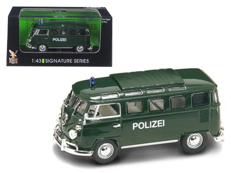 1962 Volkswagen Microbus Police Green 1/43 Diecast Car Model Road Signature 43210