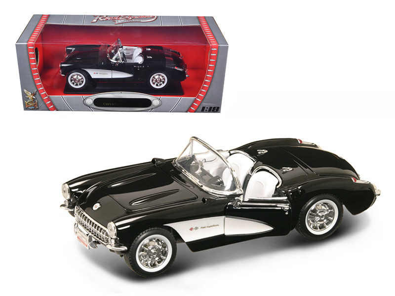 1957 Chevrolet Corvette Black 1/18 Diecast Car Model Road Signature 92018