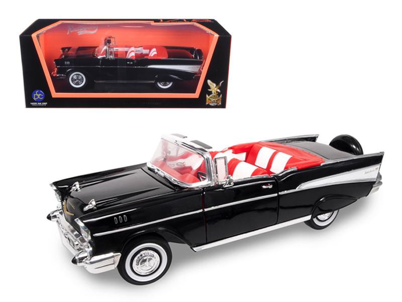 1957 Chevrolet Bel Air Convertible Black 1/18 Diecast Model Car Road Signature 92108