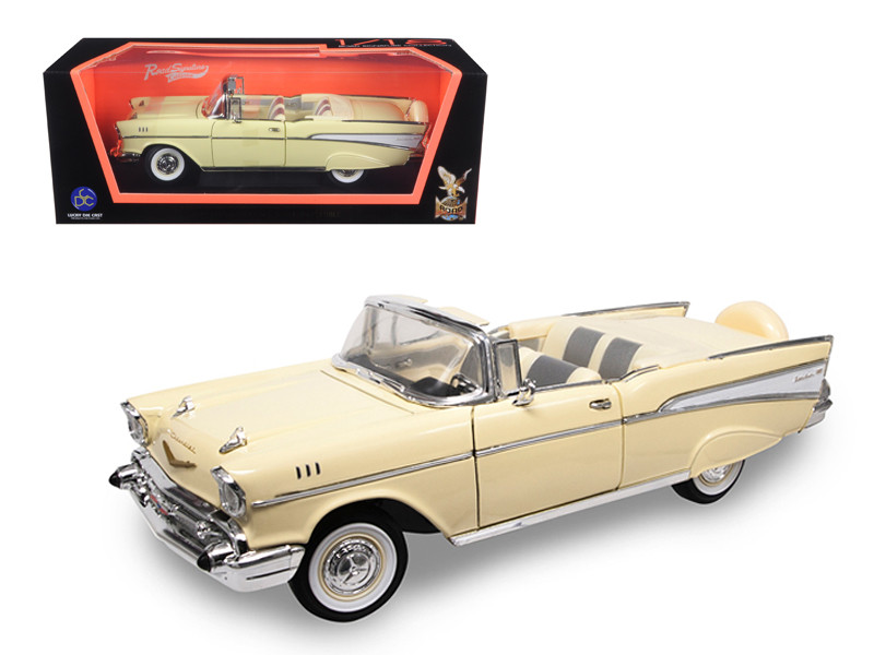 1957 Chevrolet Bel Air Convertible Cream 1/18 Diecast Model Car Road Signature 92108