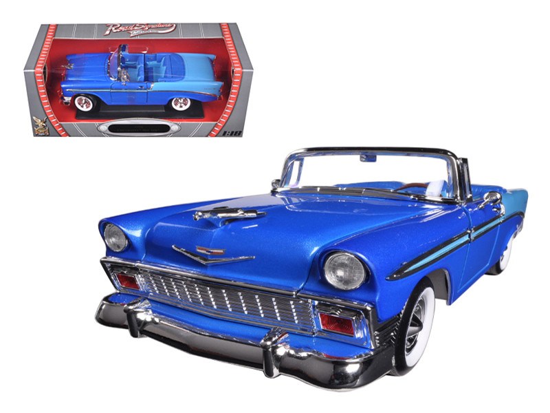 1956 Chevrolet Bel Air Convertible Blue 1/18 Diecast Car Model Road Signature 92128