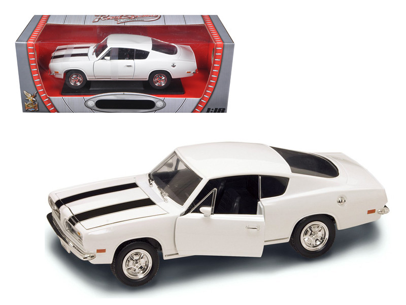 1969 Plymouth Barracuda 383 White 1/18 Diecast Car Road Signature 92179