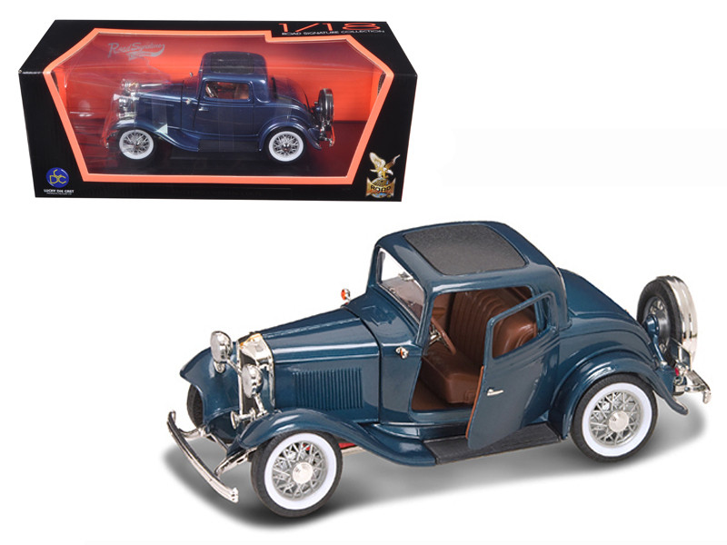1932 Ford 3 Window Coupe Blue 1/18 Diecast Car Model Road Signature 92248
