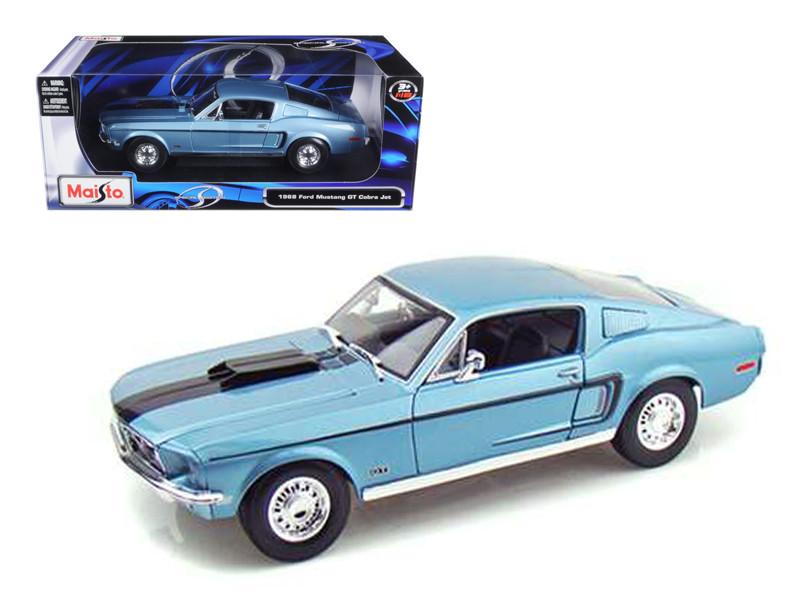 1968 Ford Mustang CJ Cobra Jet Blue 1/18 Diecast Model Car Maisto 31167