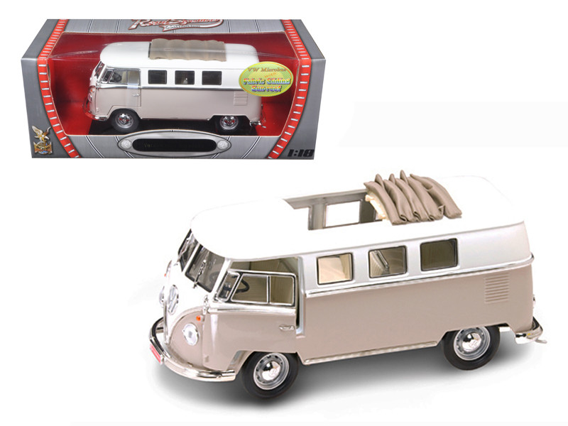 1962 Volkswagen Microbus With Retractable Roof Cream 1/18 Diecast Car Road Signature 92327