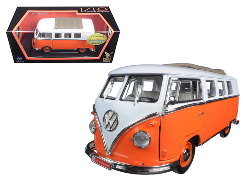 1962 Volkswagen Microbus Orange With Retractable Roof 1/18 Diecast Model Car Road Signature 92327