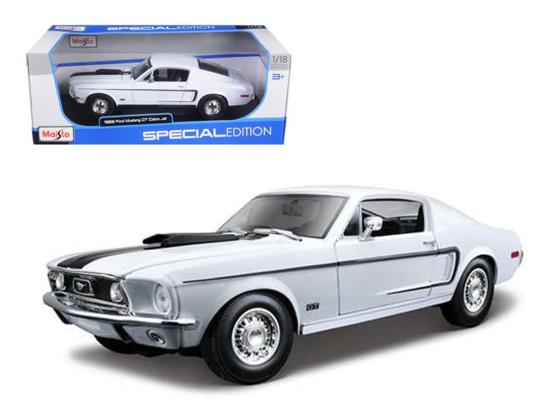 1968 Ford Mustang CJ Cobra Jet White 1/18 Diecast Model Car Maisto 31167