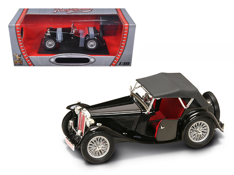 1947 MG TC Midget Black 1/18 Diecast Model Car Road Signature 92468