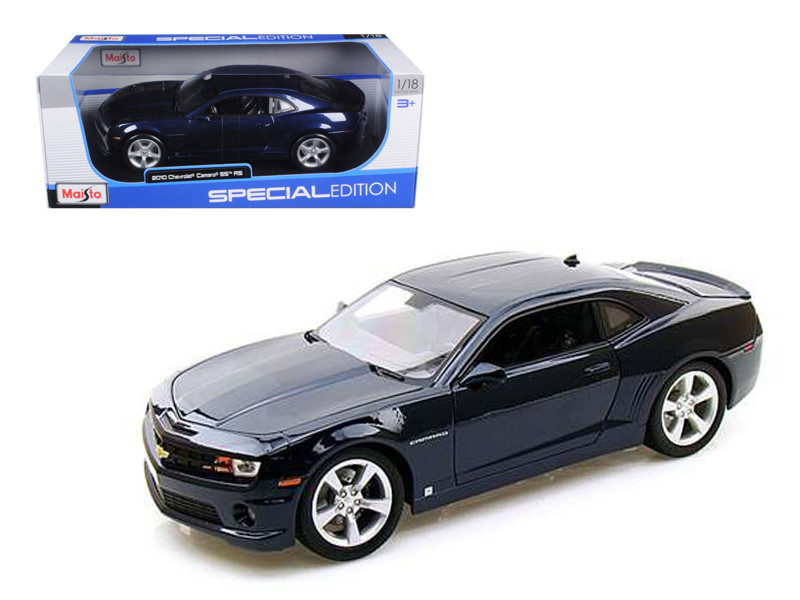 2010 Chevrolet Camaro RS SS Dark Blue with Silver Wheels 1/18 Diecast Model Car Maisto 31173