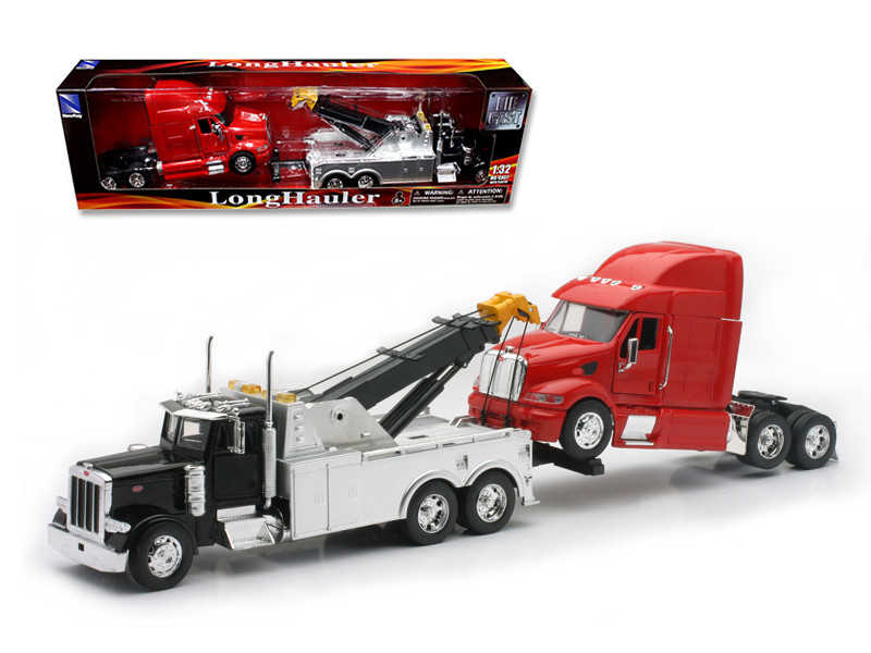 Peterbilt 379 Tow Truck Black Red Peterbilt Tractor Set 1/32 Diecast Model New Ray 12053