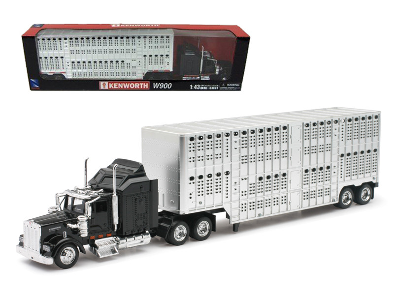 Kenworth W900 Pot Belly Livestock Black 1/43 Model New Ray 15243