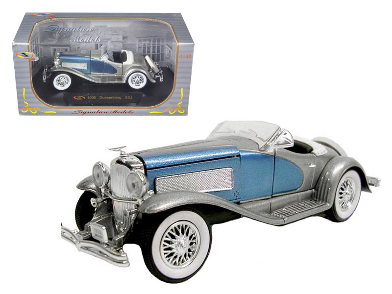1935 Duesenberg SSJ Convertible Blue Silver 1/32 Diecast Model Car Signature Models 32318