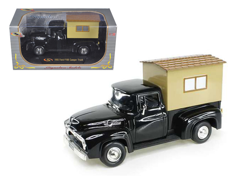 1956 Ford F-100 Pickup Truck Black with Camper 1/32 Diecast Model Car Signature Models 32395