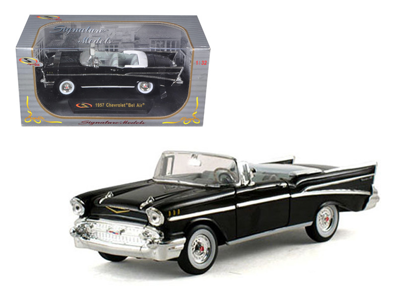 1957 Chevrolet Bel Air Convertible Black 1/32 Diecast Model Car Signature Models 32430