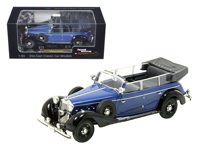 1938 Mercedes 770K Parade Car Blue 1/43 Diecast Car Model Signature Models 43700