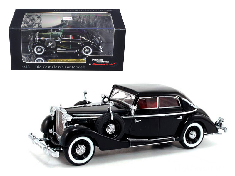 1937 Maybach SW38 Spohn 4 Doors Black Convertible 1/43 Diecast Car Model Signature Models 43703