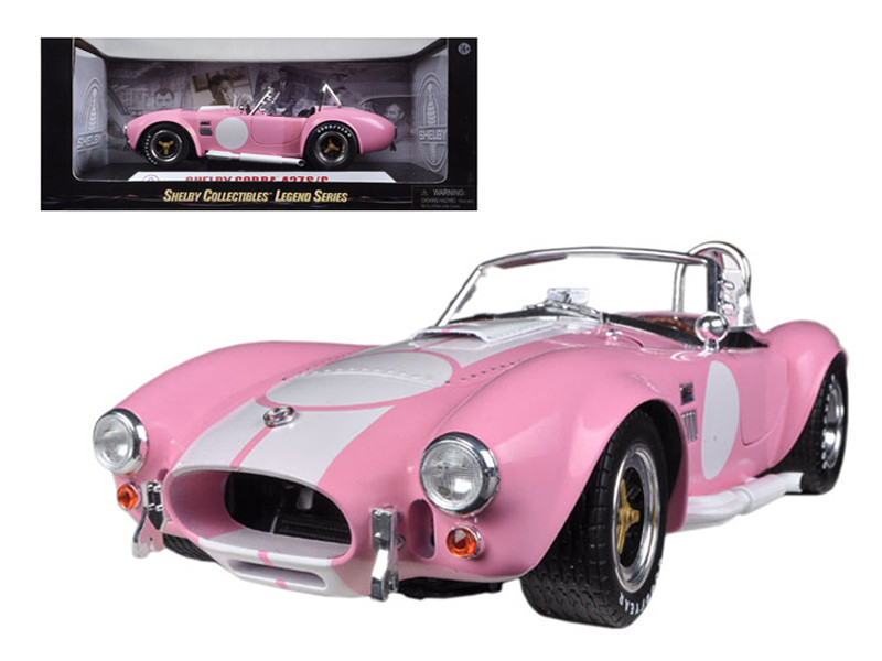 1965 Shelby Cobra 427 S/C Pink With Printed Carroll Shelby Signature On The Trunk 1/18 Diecast Car Model Shelby Collectibles SC114