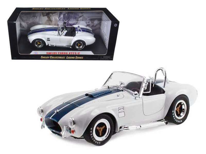 1965 Shelby Cobra 427 S/C White with Blue Stripes 1/18 Diecast Model Car Shelby Collectibles SC115