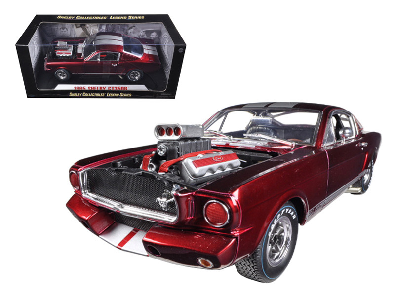 1965 Ford Shelby Mustang GT350R With Racing Engine Metallic Red With Silver Stripes 1/18 Diecast Car Model Shelby Collectibles SC117