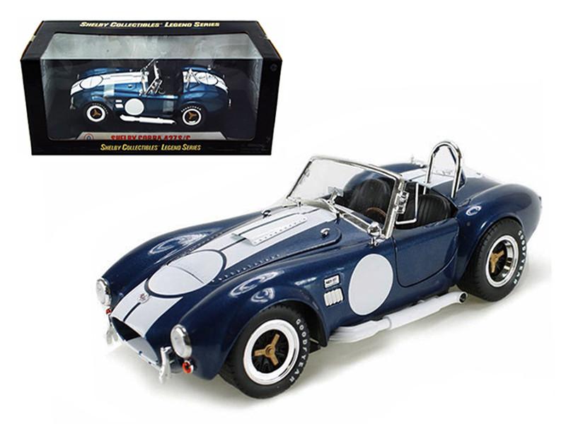 1965 Shelby Cobra 427 S/C Blue With Printed Carroll Shelby Signature 1/18 Diecast Model Car Shelby Collectibles SC121-1