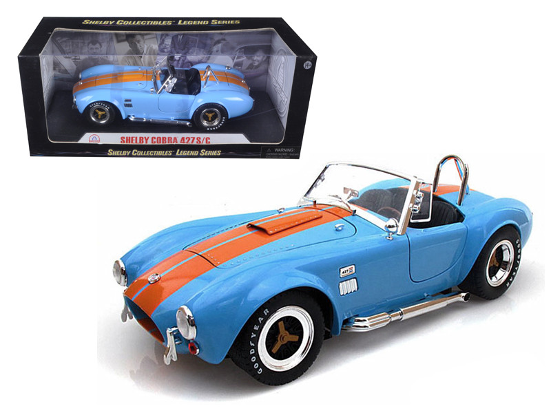 1965 Shelby Cobra 427 S/C Blue With Orange Stripes 1/18 Diecast Model Car Shelby Collectibles SC129